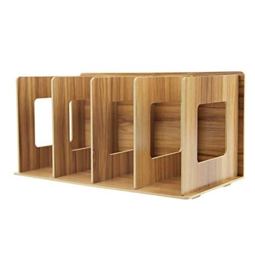 LLYU Holz-4-lagige Büro klassifiziert Desktop Bücherregal CD-Ablage bookends tragbare Regale (Farbe : Holzfarbe)