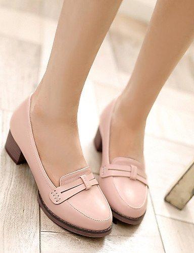 ShangYi Scarpe Donna - Scarpe col tacco - Casual - Tacchi / Punta arrotondata - Quadrato - Finta pelle - Blu / Rosa / Bianco Pink