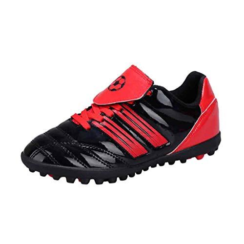 Yefree Sport Rasen Fußball Schuhe für Jungen und Mädchen mit gestreiften bedruckten Stollen und Schnürung Atmungsaktiver Sneaker -