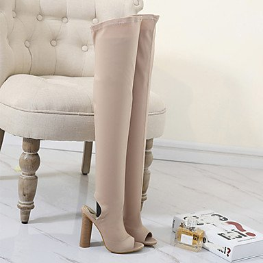 Da donna Stivaletti Comoda Innovativo Stivali Lino Estate Autunno Formale Footing A stiletto Nero Verde Tessuto almond 7,5 - 9,5 cm almond
