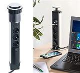 revolt Steckdosen: Versenkbare 3-fach-Tisch-Steckdosenleiste mit 2 USB-Ladeports, Ø 76 mm (Tisch-Steckdose)