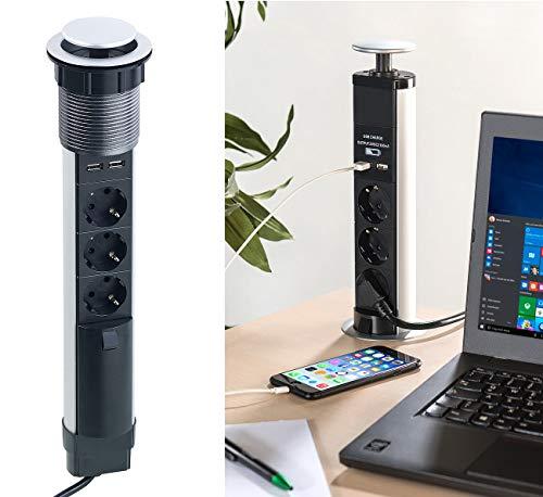 revolt Steckdose Tisch: Versenkbare 3-fach-Tisch-Steckdosenleiste mit 2 USB-Ladeports, Ø 76 mm...