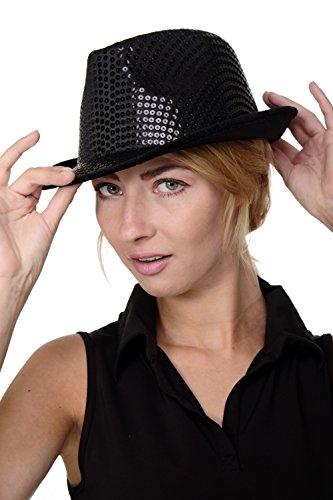 DRESS ME UP - Karneval Fasching Hut Damenhut Herrenhut Fedora schwarz mit Pailletten Paillettenhut VJ-201-black