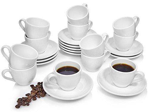 Bluespoon Espressotassen Set 'Leo' aus Porzellan 24 teilig | 12 Tassen und 12 Untertassen |...