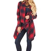 Descuento,Camisa a Cuadros Manga Larga para Mujer Abrigo Ancho Chaqueta de Solapa Invierno Sexy Coat Blusa Ocasionales Ofertas