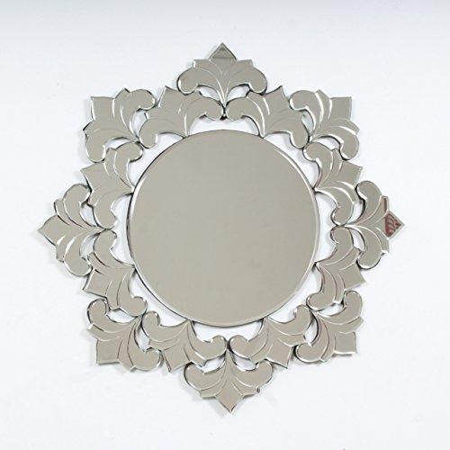 "Quality Glass Glass And MDF Decorative Wall Mirror (26""x26"", Silver, Asymmetric Shape)"