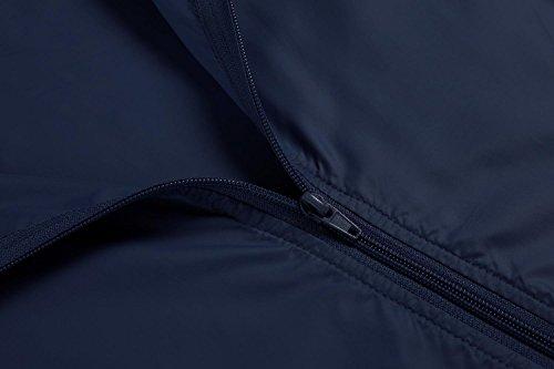 Caeasar Funktionsjacke Wasserdicht Winddicht Übergangsjacke Regenjacke mit Kapuze Tasche Regenparka Atmungsaktiv Damen Jacke Dunkelblau
