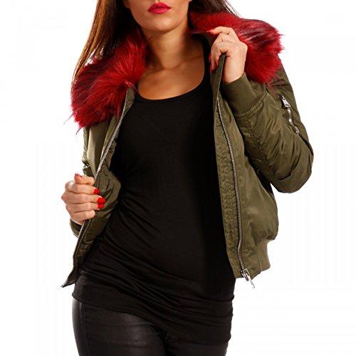 Young-Fashion -  Giacca  - Camicia - Basic - Maniche lunghe  - Donna Khaki/Bordeaux
