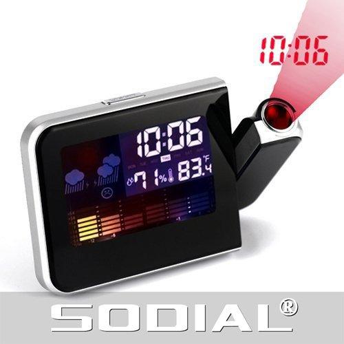 SODIAL (R) Proiettore LCD digitale a Luce LED termometro del tempo Sveglia Stazione Snooze