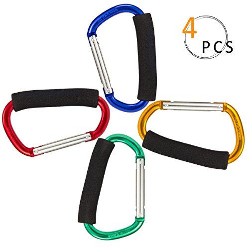 Preisvergleich Produktbild PAMASE 4 Stücke Groß Karabiner Alulegierung Karabinerhook mit Schaum Griff D-Ring Form Karabinerhaken für Fahrrad Einkaufstüten auf Kienderwagen