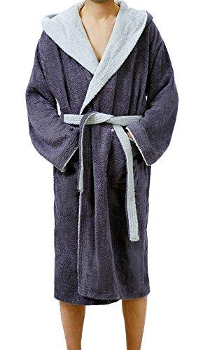 Bademantel Lucca Saunamantel mit Kapuze für Damen & Herren wahlweise in 4 Größen, Farbe: Dunkelgrau - Lichtgrau Größe: L (Herren Frottee-bademantel)