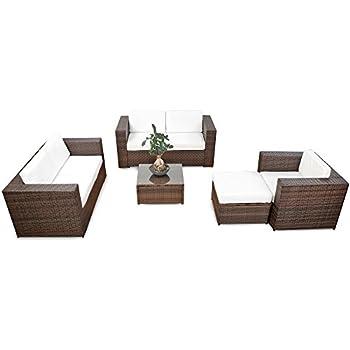 Gartenmöbel sitzgruppe rattan lounge  Amazon.de: erweiterbares 17tlg. Gartenmöbel Rattan Lounge - braun ...