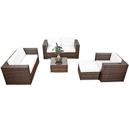 17tlg. XXL Lounge Rattan Gartenmöbel Set für Balkon und Terrasse erweiterbar - Loungeset Rattan...