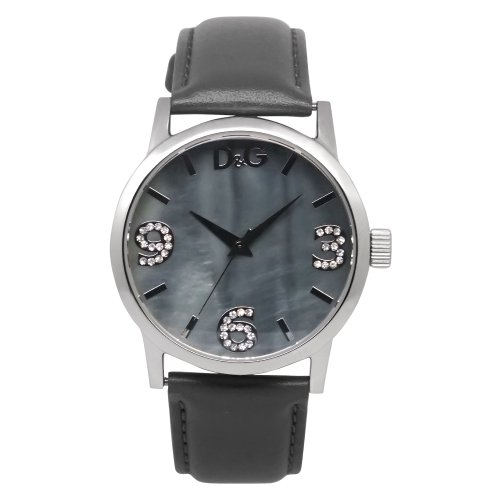 D&G Dolce&Gabbana Women's Quartz Watch with Mother of Pearl Dial Analogue Display and Black Leather Strap DW0691 D&G