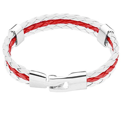 Taffstyle® Armband PU Lederarmband Kordelarmband Fanartikel Fussball WM & EM Länder Style geflochten Schweiz - (Frauen Fußball Trikot Kostüm)