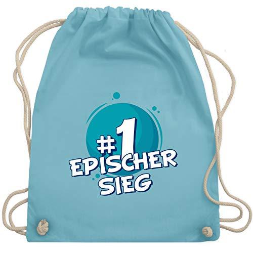 Sieg-computer-tasche (Up to Date Kind - #1 Epischer Sieg - Unisize - Hellblau - WM110 - Turnbeutel & Gym Bag)
