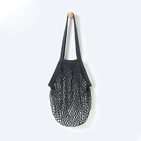 Gaddrt String de fruits réutilisable épicerie Shopper coton cabas filet tissé sac à bandoulière, tissu net (Noir)