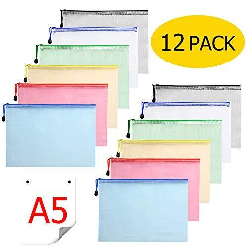 HFP Lot de 12 pochettes porte-documents en plastique avec fermeture Éclair Format A5 pour documents de bureau