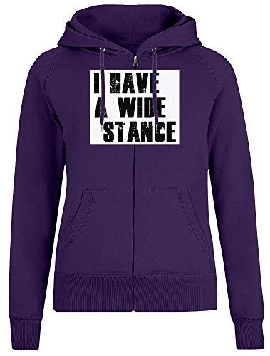 Ich Habe eine breite Haltung - I Have A Wide Stance Zipper Hoodie Jumper Pullover for Women 100% Soft Cotton Womens Clothing Large - Haltung Hoodie