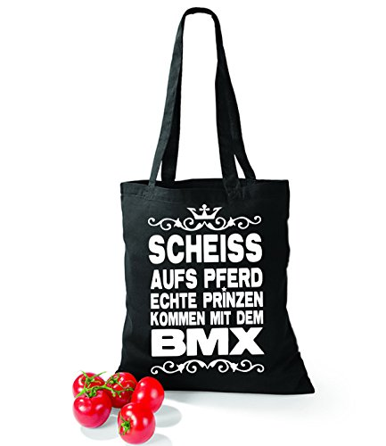 Artdiktat Baumwolltasche Scheiß auf´s Pferd - Echte Prinzen kommen mit dem BMX yellow schwarz