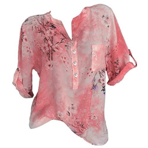 Zegeey Damen T-Shirt GroßE GrößEn Blumendruck Schulterfrei Schicker Elegant LäSsige Lose Oberteil Bluse Pullover Tops Shirt Hemd(C2-Rosa,EU-44/CN-3XL) -
