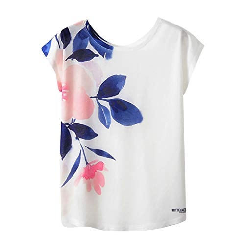 Andouy Damen T-Shirt Graffiti/Print/Tier/Blume Kurzarm O Neck Top Gr.36-42 Laides Daily Bluse(XL(42),Blaue ()