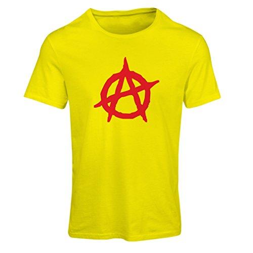 Frauen T-Shirt Anarchistischer Symbolismus, politischer Entwurf des Anarchismus, Symbol für Anarchie (XX-Large Gelb Rote)