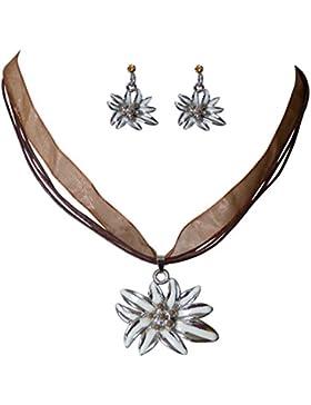 Trachtenschmuck Dirndl Edelweiss Collier-Set - Kette und Ohrringe - mit Perlchen