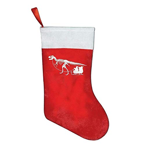 QUEEKINWANG Dinosaur Pulling Santa's Classic Red & White Christmas Stocking for Stocking Candy Gift Big Bags