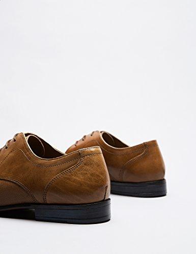 FIND Derby Schuhe Herren mit Struktur und Blockabsatz Braun (Tan)