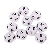 IPOTCH 10x White Poly Acrylic Dice D12 TRPG For MTG Adult Role Playing Fun Toys
