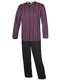 Schlafanzug lang Herren Pyjama lang Hausanzug Herren aus 100% Baumwolle Model Vintage