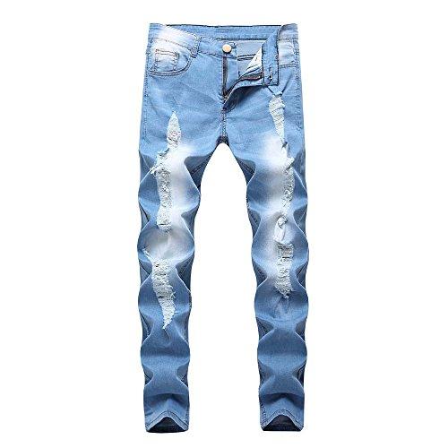 XZDCDJ Jeans Hosen für männer Slim fit Stretch Damen Boyfriend Mit Löchern Slim Biker Zipper Denim Jeans Skinny ausgefranste Hosen Distressed Rip Trousers -