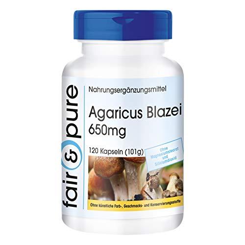 Agaricus Blazei Murrill Extrakt 650mg (ABM - Agaricus Blazei Murill) - Vitalpilz - vegan - natürlich - ohne Magnesiumstearat - 120 Kapseln -