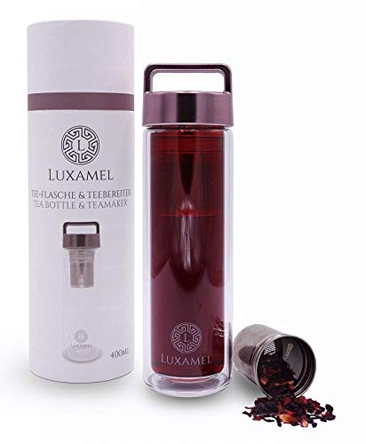 Luxamel Teeflasche Rose Gold 450ml Teebereiter aus Glas doppelwandig mit Teesieb | BPA-frei |
