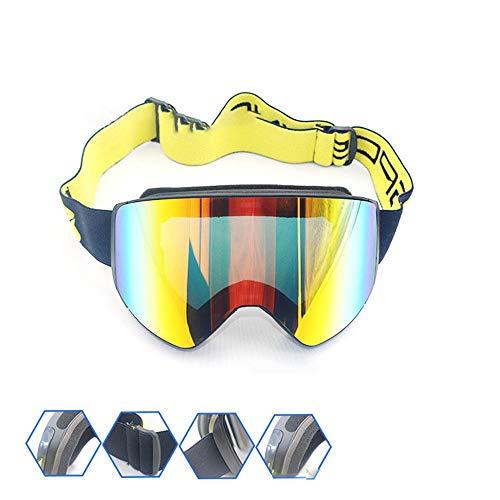 KPOON Fahrradbrille Männer und Frauen Bergsteiger Brille Skibrille Anti-Fog-Brille Borderless Skibrille für Männer und Frauen (Color : Black Frame red Film)