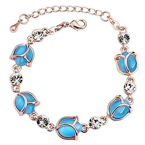 Opal Modeschmuck - Sommer Rose Opal Armband Modeschmuck blau