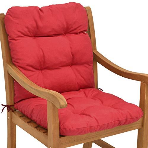 Beautissu cuscino per sedie da giardino flair nl100x50x8cm - comoda e soffice imbottitura - ideale anche per spiaggine - rosso