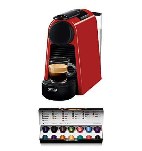 De'Longhi Nespresso Essenza Mini | EN 85.R Kaffeekapselmaschine | Welcome Set mit Kapseln in unterschiedlichen Geschmacksrichtungen | 19 bar Pumpendruck | Platzsparend | Rot