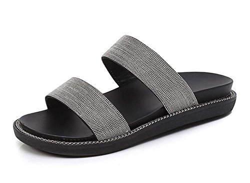 Mulheres Dedo Aberto Sapatos Novo Metal Sandálias De Verão Cadeia Chinelos Chão Praia Prata Mulas