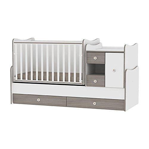 Lit bébé évolutif/ combiné MiniMax 3en1 Lorelli blanc/café (le lit bébé se transforme en: bureau, armoire, lit d'adolescent) Lorelli