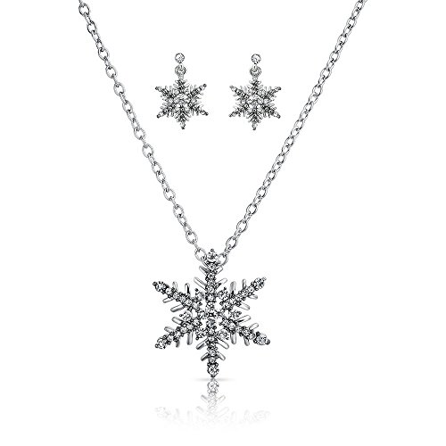 Bling Jewelry Crystal Snowflake Antike Halskette Ohrringe ()