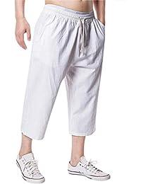 Amlaiworld Leinen Strand Sommer 3 4 lang Hosen Mode Sport locker Pants  Band Herren Freizeithose Retro Gemütlich Elastische Taillen… d6a2b8fe4a
