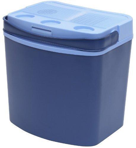 Thermoelektrische Kühlbox, Kühlbehälter 30Liter, Deckel mit Becherhalter + Tragegriff, Farbe: blau