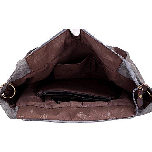 PB-SOAR Vintage Damen Canvas Große Schultertasche Umhängetasche Shopper Henkeltasche Handtasche Hobo Bag Beuteltasche Freizeittasche, 6 Farben auswählbar (Grau) Grau