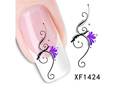 ristall Strass Glitter Nail Art Dekorationen Legierung Nail Art Tipps DIY Nail Art Dekoration Zubehör (Schwarz + Lila) Durch Heelinna ()