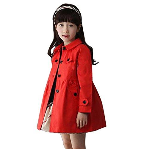 Arshiner Mädchen Übergangsjacke Kids/ Teens Trenchcoat Mantel Jacke mit abnehmenbarer Kapuze Rot 140