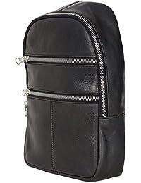 Yahya Unisex Black Genuine Leather Sling Bag
