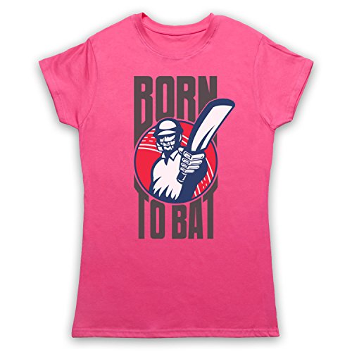 Born To Bat Cricket Slogan Damen T-Shirt Rosa