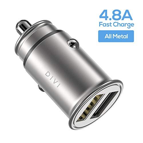 DIVI Auto Ladegerät, Mini USB Auto Adapter 12V/ 24V KFZ Ladegerät 2-Port 24W 5V / 4.8A mit Aluminium-Legierung Gehäuse für iPhone XR/XS Max, Samsung Galaxy S8, Huawei Und mehr (Silber)